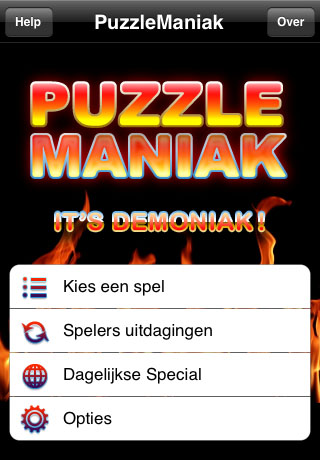 Main PuzzleManiak screen